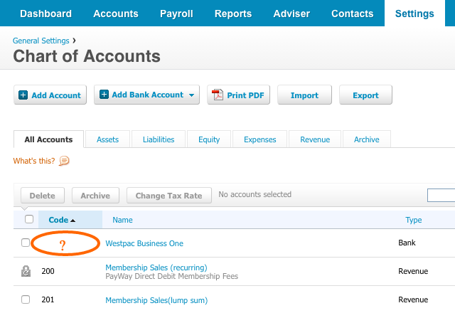 Xero No Code for Bank Account in Chart of Accounts