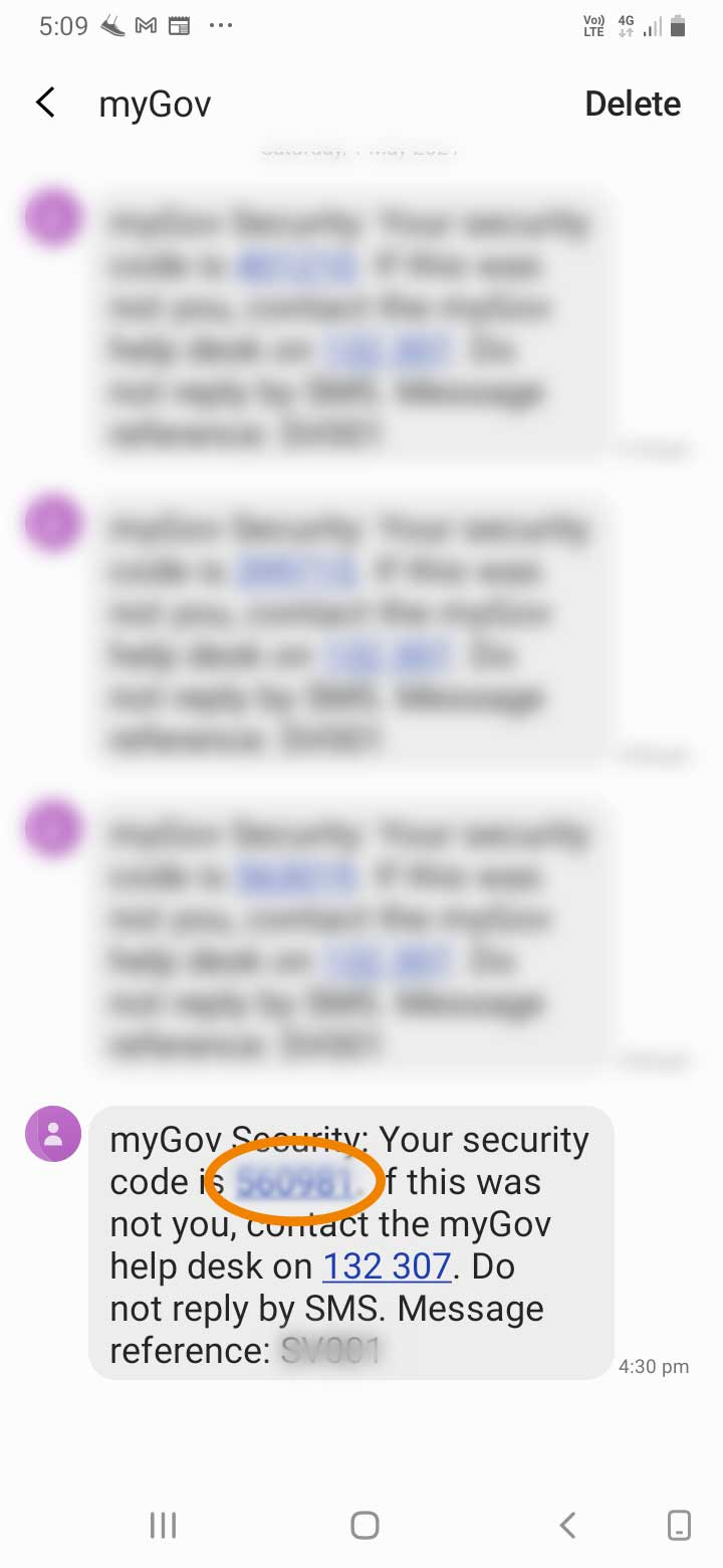 myGov NDIS two factor authentication sms txt