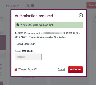Westpac Bookkeeping Authorisation Request SMS