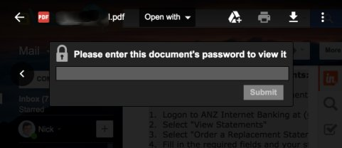 Enter password ANZ PDF bank statement for bookkeeping software import