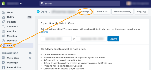 Shopify Xero Integration Settings