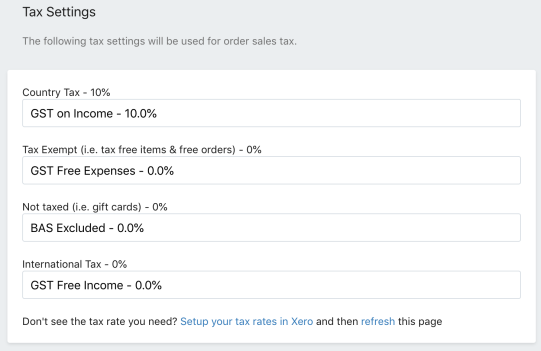 Xero Tax Settings for Shopify integration