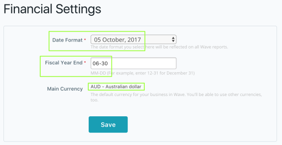 End of Financial Year Currency Date Formats for Free Invoicing Software