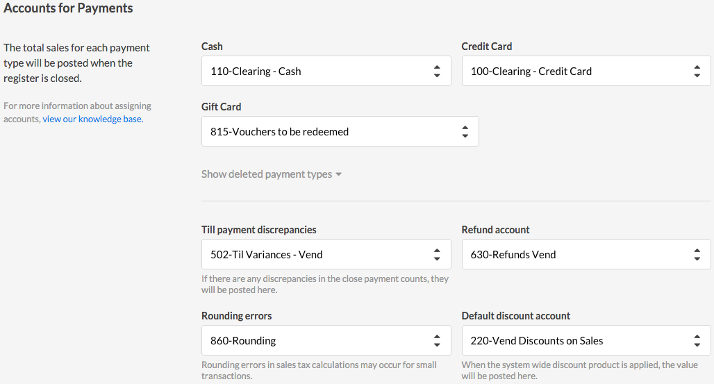Vend Xero Accounts for Payments