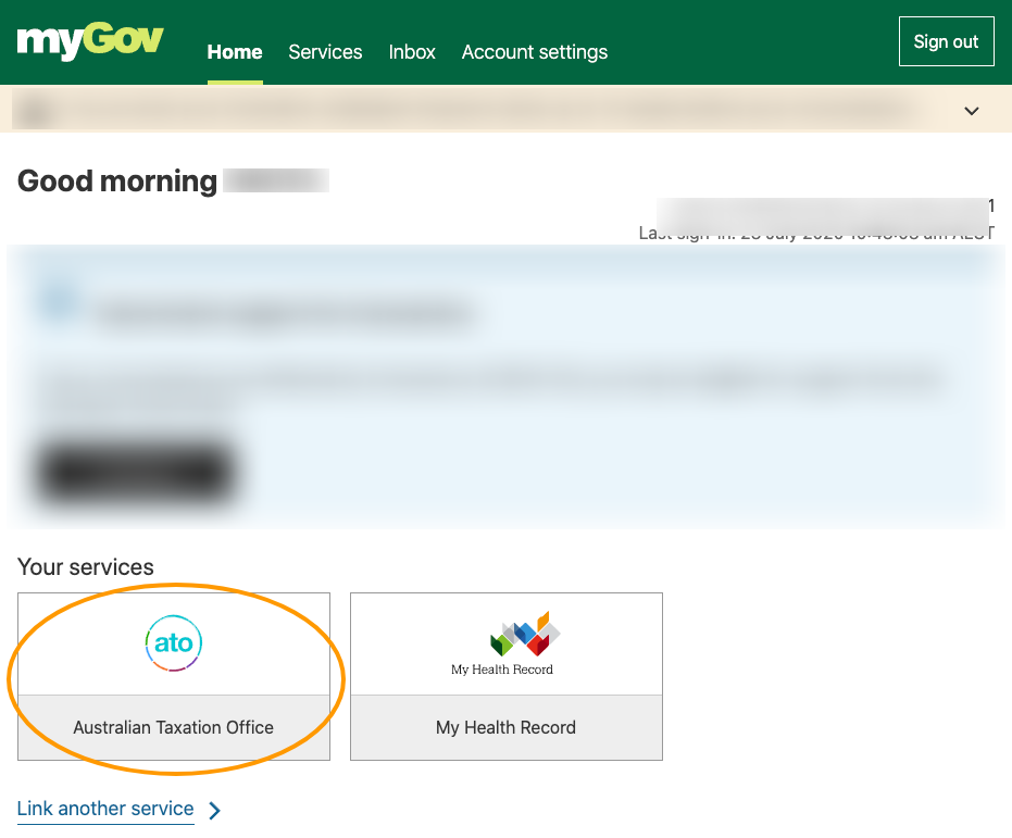 Australian Taxation Office MyGov Services