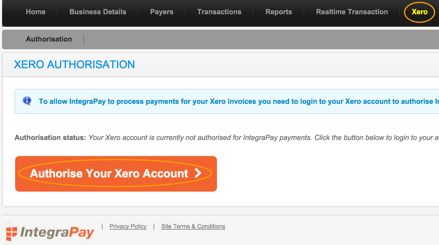 IntegraPay Authorise your Xero Account for Online Payments