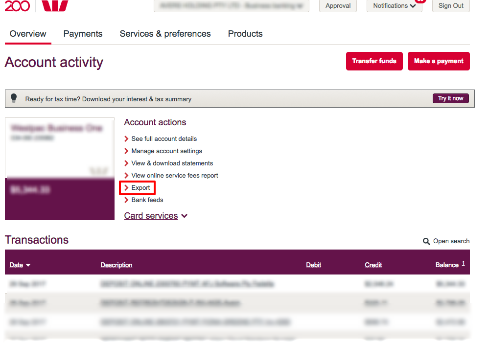 How to export bank transaction from Westpac to Xero