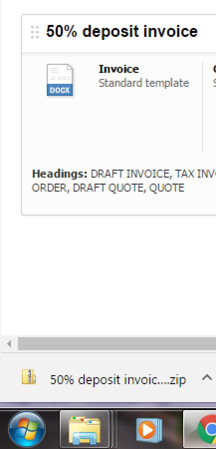 Open Deposit Invoice Template In Word