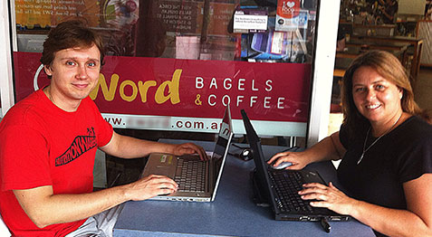 Coffice Work Start up bookkeeping business working at a Coffee Shop
