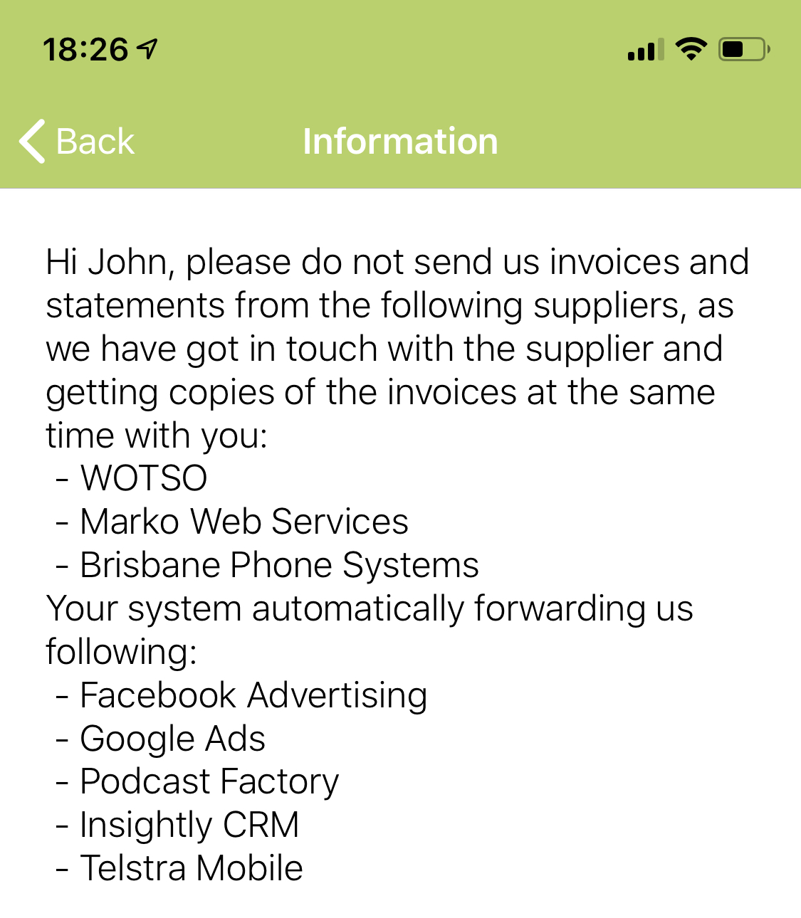 Bookkeeping Instructions Information What not to send