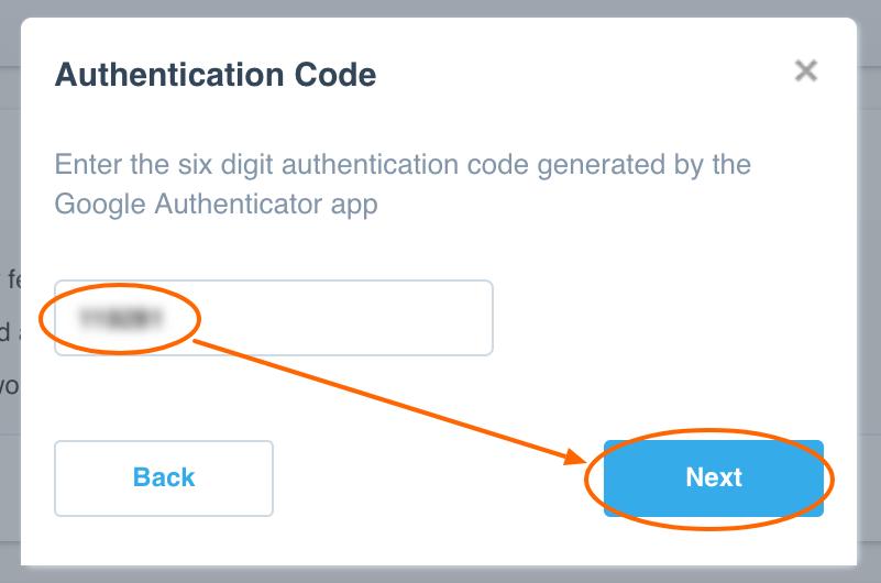 Authentication Code 2SA Xero