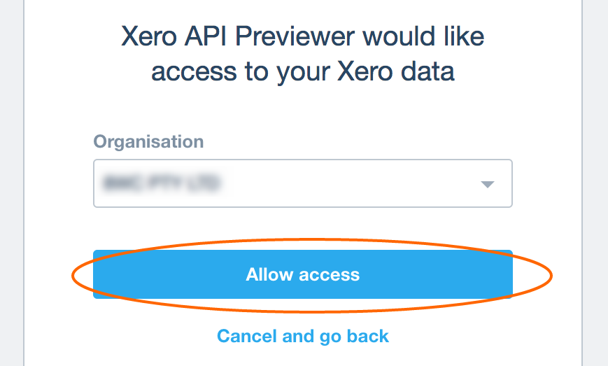Allow access Xero API to extract data