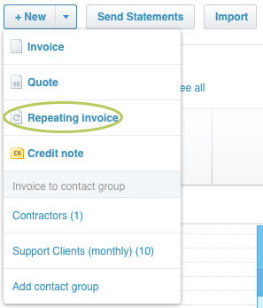 New Invoice Repeating Invoice