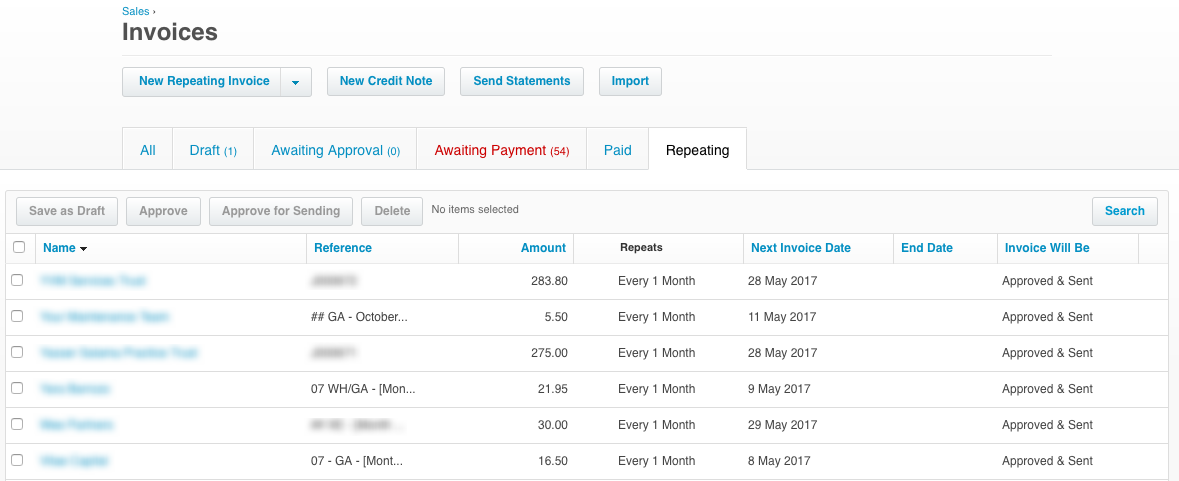 Xero Repeating Recurring Invoices and Bills